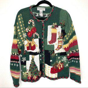 Tiara International Christmas Cardigan Sweater